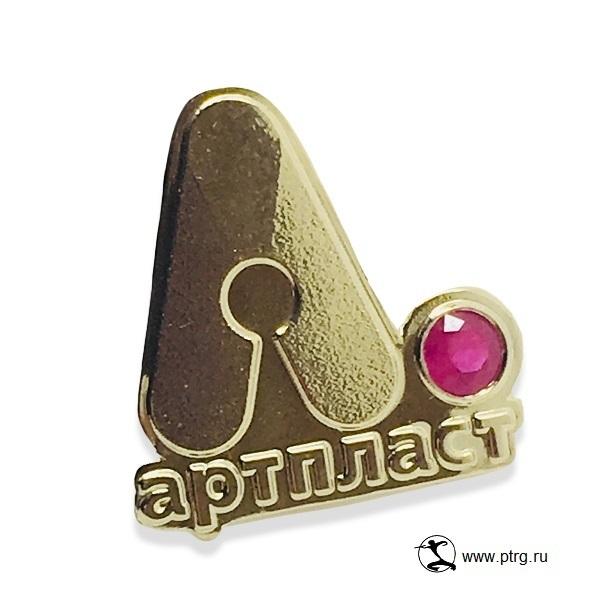 Золотые значки Артпласт с рубином